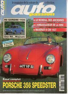 AUTO PASSION 98 ESSAI PORSCHE 356 SPEEDSTER R8 GORDINI 1100 MASERATI 6CM 1937