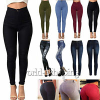 Women's High Waist Stretchy Pencil Pants Casual Slim Fit Skinny Trousers Pants