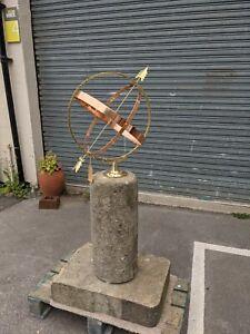 Brass Copper Garden Armillary Sundial Sphere on reclaimed stone plinth