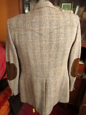 LARGE 42 True Vtg 70's LEATHER ELBOW RANCHER PANHANDLE PATCH TWEED BLAZER JACKET