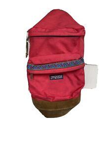VINTAGE RED JANSPORT BACKPACK/BAG WITH TRIM / SUEDE BOTTOM MADE IN USA