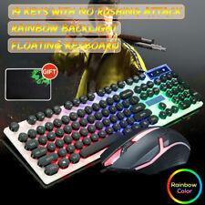 Wired LED Rainbow Backlight USB Mute Ergonomic For PUBG Gaming Keyboard Set
