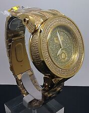New Men's Gold Face Techno Grill Watch With 2.56CT Diamonds Stainless Joe Rodeo
