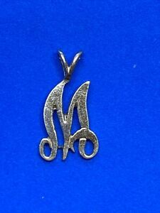 14K Yellow Gold Letter M Charm or Pendant