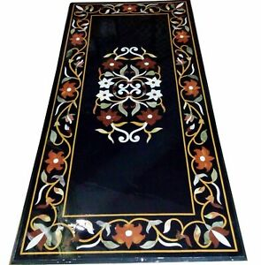 4'x2' Black Marble Dining Table Top Inlay Mosaic Carnelian Floral Art Decor B821