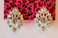 Betsey Johnson Crystal Rhinestone Flower Post Earrings