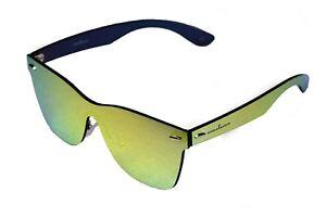 amoloma Rahmenlose Randlose Nur Glas Sonnenbrille unisex Gold verspiegelt