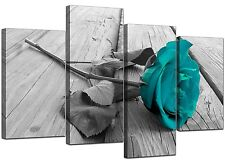 Black White Floral Flower Teal Canvas Wall Art XL 130cm Pictures 4037