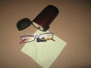 Riviera Slim Elegant metal Reading Glasses +1.25 Hard Case Cloth Bundle $30 New