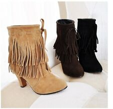 Fashion New Women's Faux Suede Black Boho Fringe Mid Heel Ankle Boots Plus Size