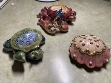Blue Sky Clayworks Crab, Clam and Turtle Tea Light Holders Heather Goldminc