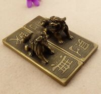 China Folk Fengshui Old Brass Carved Foo Fu Dog lion Statue Pair paper weight  A