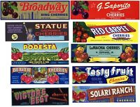 Collection of 10 Different Cherry Box Label **ORIGINAL FRUIT CRATE LABELS**