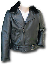 GTH CHIPS HEAVY-DUTY LEATHER MOTORCYCLE JACKET, BLACK [72020]
