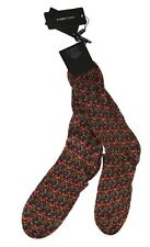 NEW $100 DOLCE & GABBANA Socks Mens Bordeaux Cotton Aubergine Pattern s. XL