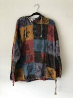 Hippie Patchwork Top Stonewashed Hooded Boho Shirt Pullover Festival Jacket PS2