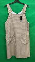 Dorothy Perkins Ladies Dungaree Dress White/brown Size 16 New with Tags