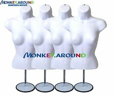 4 Mannequin +4 Hook 4 Stand - White Female Dress Body Form Display Clothing