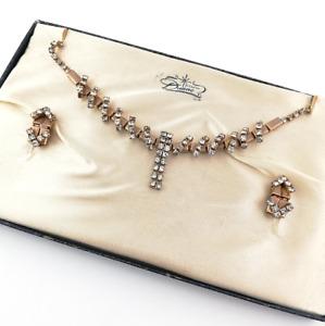 Duane Vintage Rhinestone Necklace Earrings Demis Parure Original Gift Box