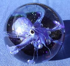 """Murano """"Blue Octopus"""" Clear Decorative Glass Paperweight"""
