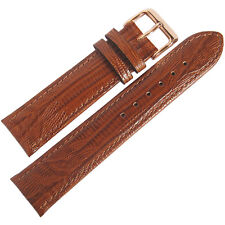 17mm Fluco Mens Tan Teju Lizard-Grain Leather ROSE GOLD Buckle Watch Band Strap