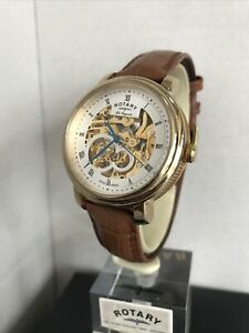 Rotary Men's Les Originales Jura Automatic Skeleton Gold Platted Strap Watch