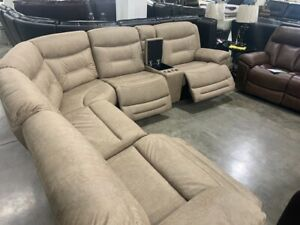 NEW 7PC LIVING RM MICROFIBER SECTIONAL  3 PWR RECLINERS & PWR HEADRESTS W/USBS