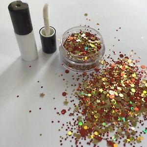 FESTIVAL FACE/BODY KIT-4ml GLUE+RUBY STAR HOLOGRAPHIC RED/GOLD GLITTER 10g