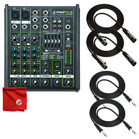 Mackie PROFX4V2 4-Channel Compact Mixer with Effects and 4 Pro Cable Bundle