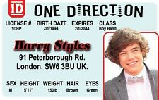 ONE DIRECTION Harry Styles Boy Band card London Enland UK Drivers License