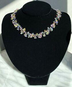14K White Gold Milti-Color Sapphire Briolette Spinel Fringe Choker Necklace