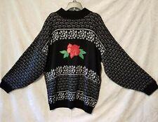 Adele Knitwear vtg 90 - sweater oversize 10 embellished with embroidered rose