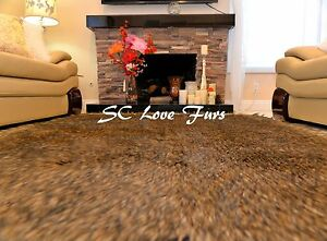 5' x 6' Large Black Tip Coyote Wolf Accents Exotic Faux Fur Rectangle Area Rugs
