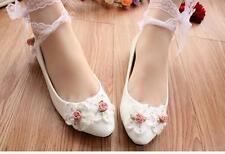 Decolté decolte scarpe donna ballerina bianco rosa pizzo sposa 3.5, 4.5 cm 9339