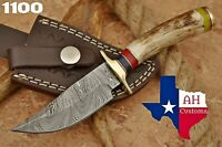 HAND FORGED DAMASCUS STEEL HUNTING KNIFE W/ STAG & BRASS GUARD HANDLE AH-1100