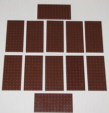 LEGO LOT OF 12 NEW REDDISH BROWN 6 X 12 DOT PLATES BLOCKS PIECES