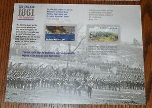 The Civil War 1861 Souvenir Stamp Sheet 2011 Scott #4522-23 MNH