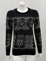 J. Crew Womens Mixed Stitch Blanket Sweater XS Black Wool Cotton Pullover Knit