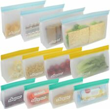 SKQUE 12 Pack Extra Thick Reusable Ziplock Storage Bags - Leakproof Seal Food Gr