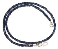 "925 Sterling Silver Dark Blue Iolite 12-40"" Strand Necklace 4mm Round Beads H214"