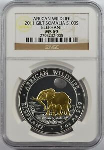 2011 Somalia African Wildlife Elephant 100 shillings Gilt MS 69