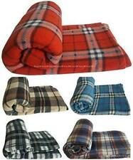 Large Check Throw Tartan Fleece Blanket Plush Cosy 130x180cm Cream Red Grey