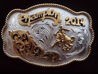 Rodeo Style Trophy Bull Riding Buckle German Silver-(Silver/24Kt Gold Plated)
