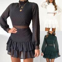 ❤️ Womens Long Puff Sleeve Ruffled Lace Mesh Mini Dress Party Hollow Swing Dress