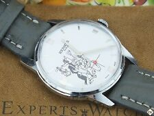 Serviced Vintage HERMES PARIS Watch 1950s Erotic Big Bad Wolf Red Riding Hood