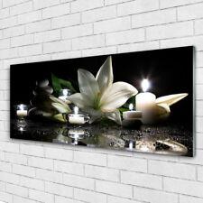 Wandbilder Glasbilder Druck auf Glas 125x50 Steine Blume Kerzen Kunst