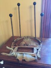 Vintage Antique Cast Iron Cowboy Boot Rack Stand W Boot Horn Brush Horse Decor