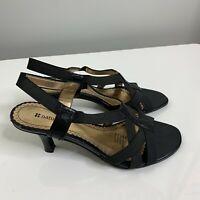 Naturalizer Size 7 W Black Sandal Heels Open Toe Elastic Straps *Damaged* #97