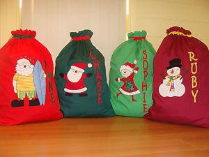 PERSONALISED CHRISTMAS/SANTA SACKS - 13 Designs Available -