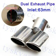 Universal 63mm 2.5 Inch Inlet Dual Outlet Rear Muffler Exhaust Tail Pipe End Tip